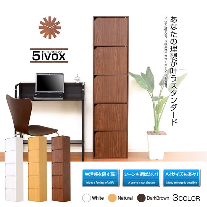 A4サイズ収納OK!扉付きカラーボックス 【5ivox】フィボックス