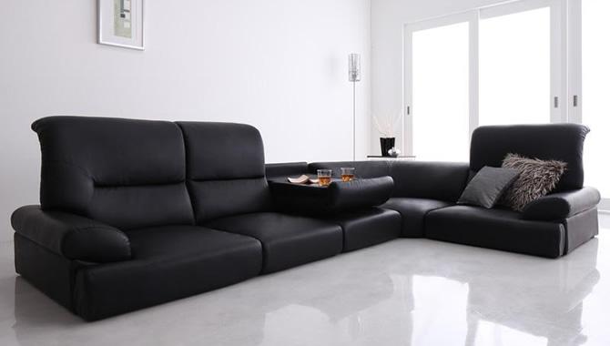 ハイバックフロアコーナーソファー 【BLACK】ブラック