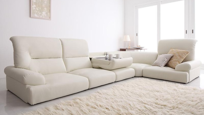 ハイバックフロアコーナーソファー 【WHITE】ホワイト