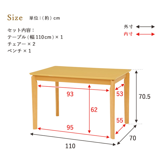 テーブルサイズ(寸法図)