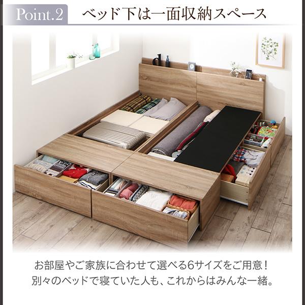 ベッド下は一面収納スペース