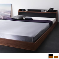 棚・コンセント付きバイカラーデザインフロアベッド 【DOUBLE-Wood】ダブルウッド