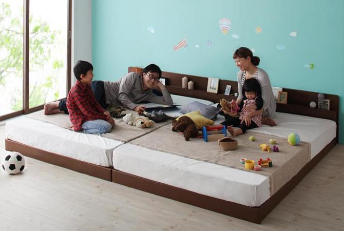 親子で寝られる棚・コンセント付き安全連結ベッド 【Familiebe】ファミリーベ