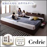 棚・コンセント・収納付き大型モダンデザインベッド 【Cedric】セドリック