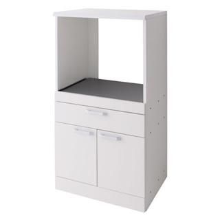 スライド棚付キッチンキャビネット ホワイト