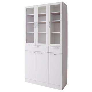 扉付食器棚ワイドタイプ ホワイト