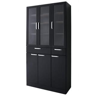扉付食器棚ワイドタイプ ブラック