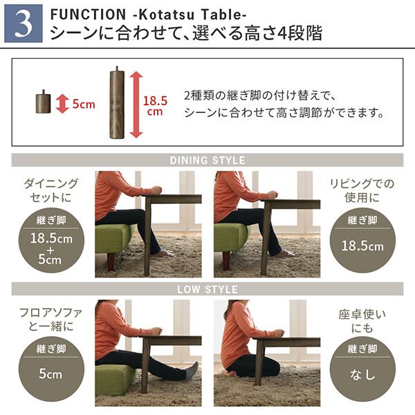 テーブルの高さは4段階調整