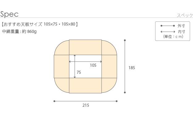 105×75cmこたつ天板用