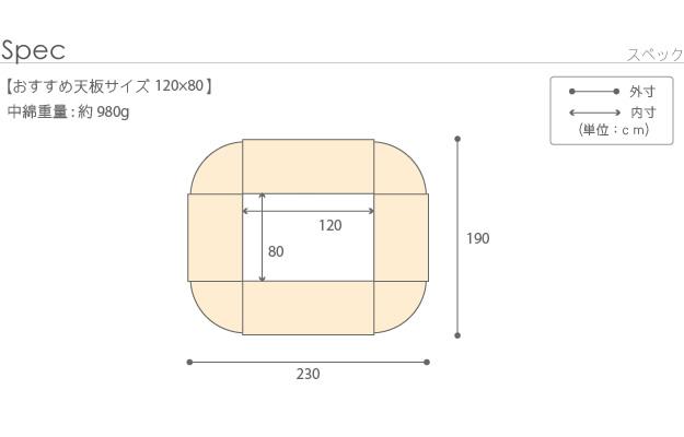 120×80cmこたつ天板用