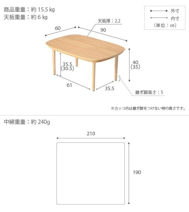 90×60cmテーブル用のサイズ