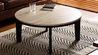 リバーシブル天板 フラットヒーターこたつテーブル 【Likable】ライカブル 丸型80cm幅