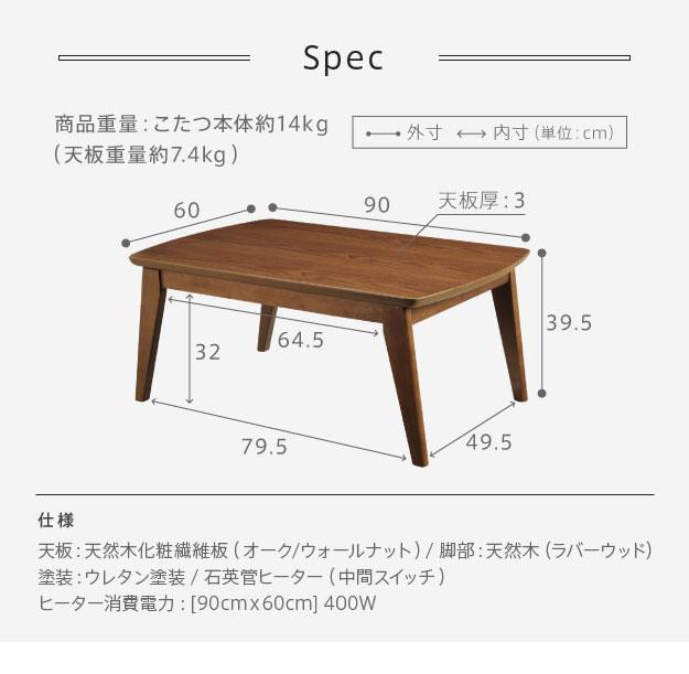 90×60cmテーブルのサイズ