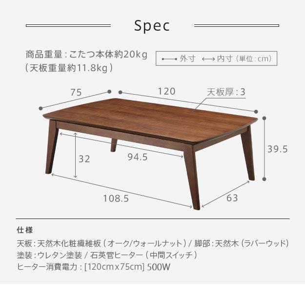 120×75cmテーブルのサイズ