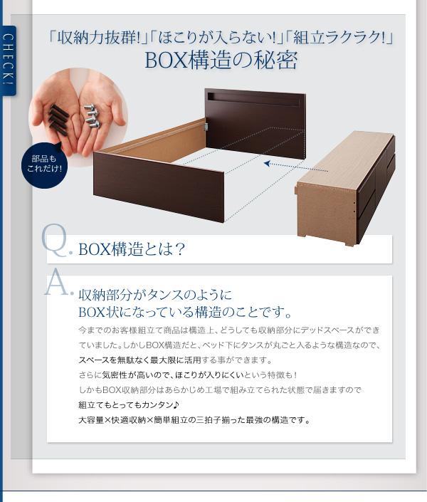 ボックス構造は収納スペースが最大限確保できるうえ、気密性が高いのでほこりが入りにくい