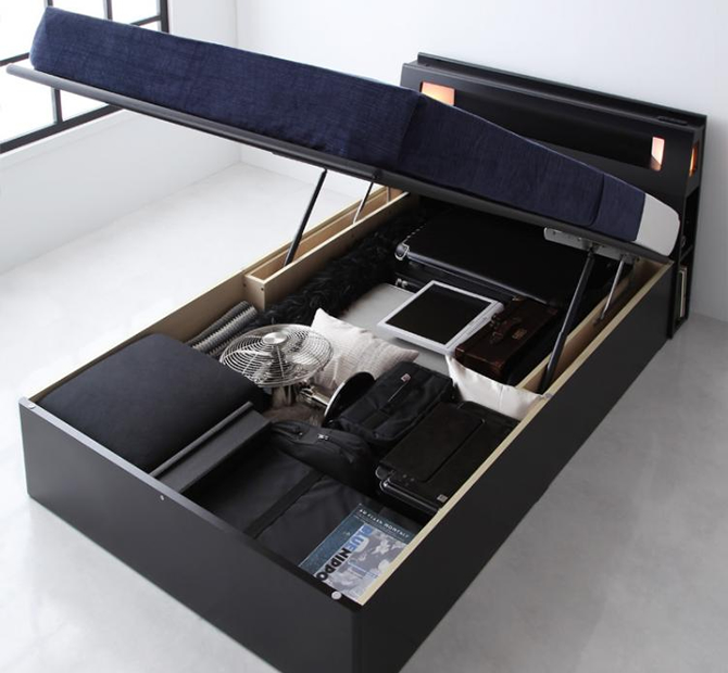 モダンライトコンセント付き・ガス圧式跳ね上げ収納ベッド 【Kezia】ケザイア