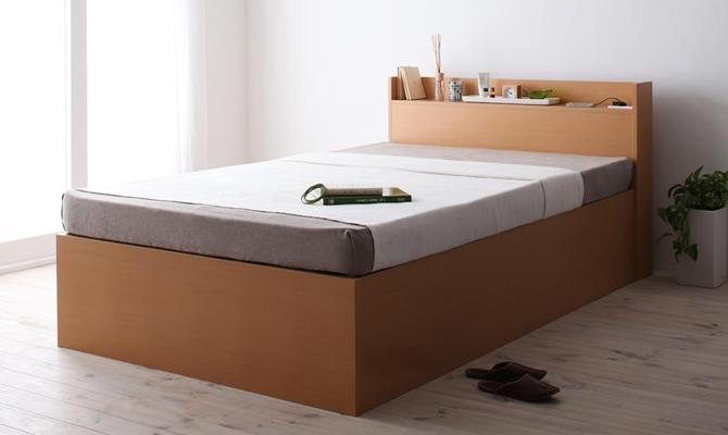 シンプルデザイン大容量収納庫付すのこベッド 【Open Storage】オープンストレージ