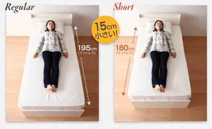 通常のマットレスに比べて15cm短いショートタイプ
