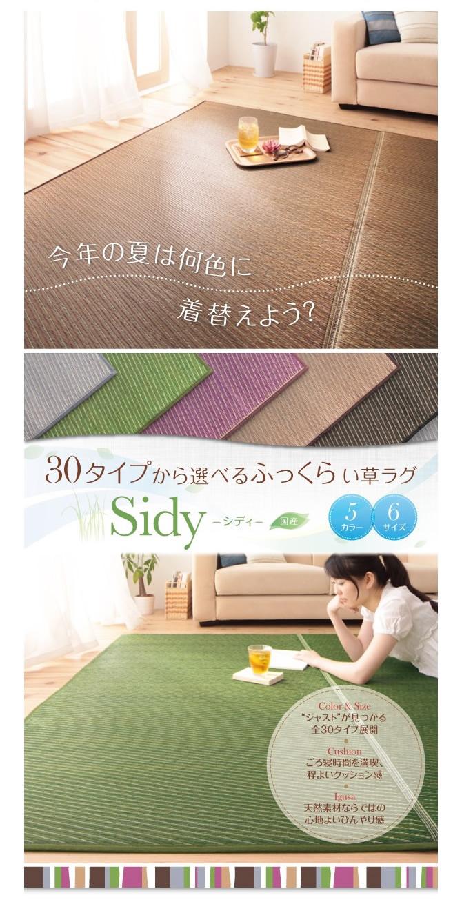 30タイプから選べる国産ふっくらい草ラグ 【Sidy】シディ