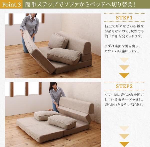簡単ステップでソファからベッドへ切り替え