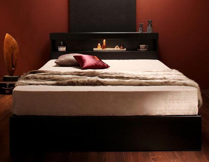 モダンライト・コンセント付き収納ベッド 【Acacia】アケーシア