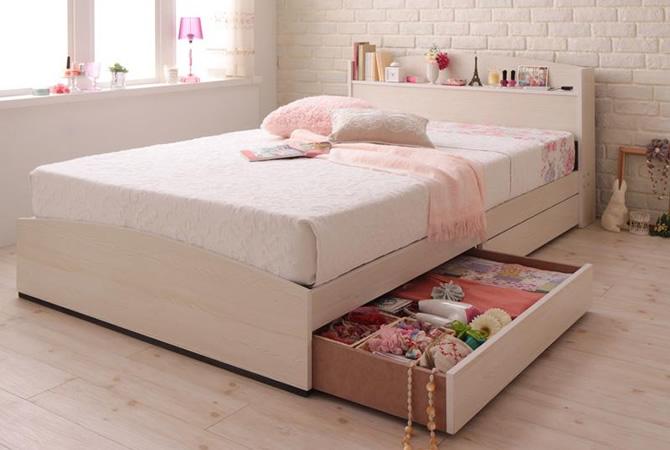 フレンチカントリーデザインのコンセント付き収納ベッド 【Bonheur】ボヌール