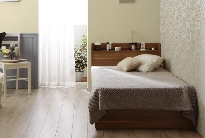 ショート丈 棚・コンセント付き収納ベッド 【Caterina】カテリーナ
