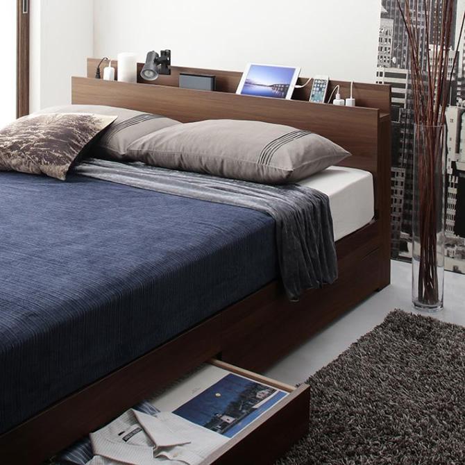 スリム棚・4口コンセント付き収納ベッド 【Dublin】ダブリン