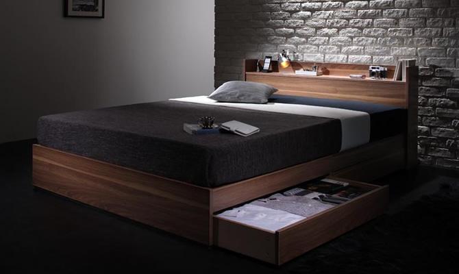ウォルナット柄/棚・コンセント付き収納ベッド 【Espelho】エスペリオ