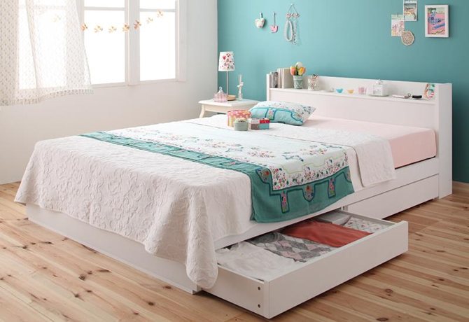 棚・コンセント付き収納ベッド ...