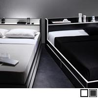 モノトーン・バイカラー 棚・コンセント付き収納ベッド 【Fouster】フースター