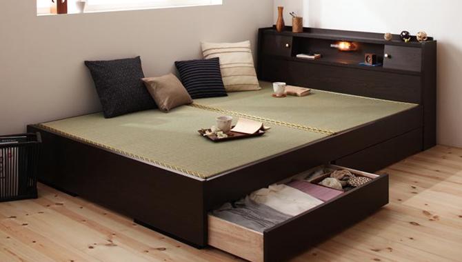 照明・棚付き畳収納ベッド 【月下】Gekka