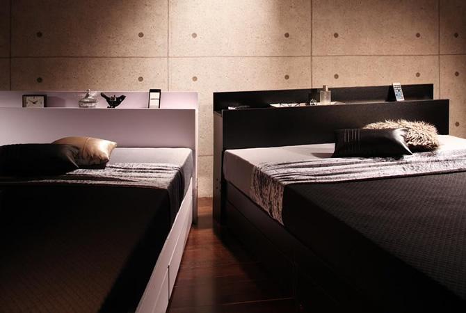 棚・コンセント付き収納ベッド 【Gute】グーテ
