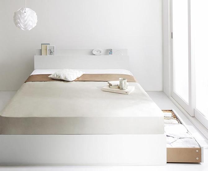 棚・コンセント付き収納ベッド 【ma chatte】マシェット