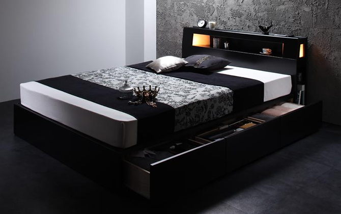ライト・コンセント付収納ベッド 【Modellus】モデラス