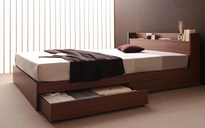 棚・コンセント付き収納ベッド 【S.leep】エス・リープ