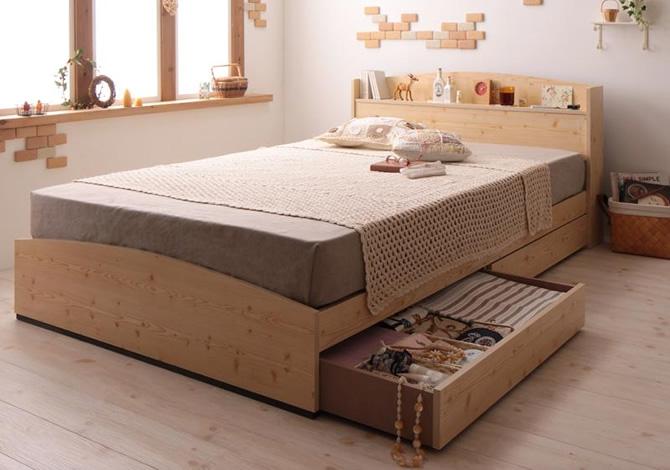 カントリーデザインのコンセント付き収納ベッド 【Sweet home】スイートホーム