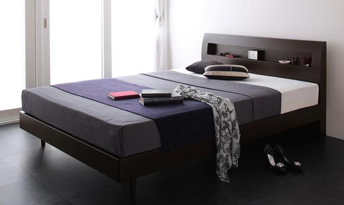棚・コンセント付デザインすのこベッド 【Alamode】アラモード