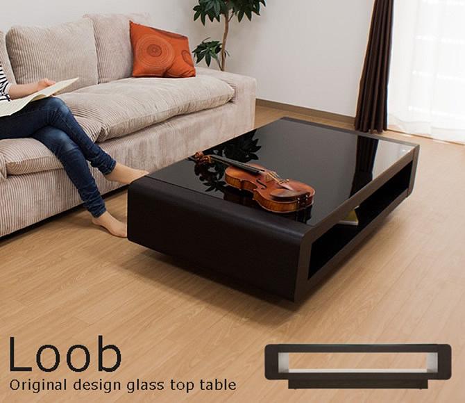 ブラックガラストップリビングテーブル 【Loob】ルーブ [ブラック]