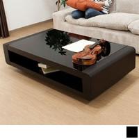 ブラックガラストップリビングテーブル 【Loob】ルーブ ブラック