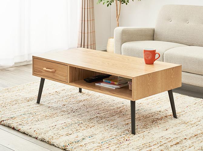 天然木ローテーブル オープン×ストレージ(引出し1杯)タイプ