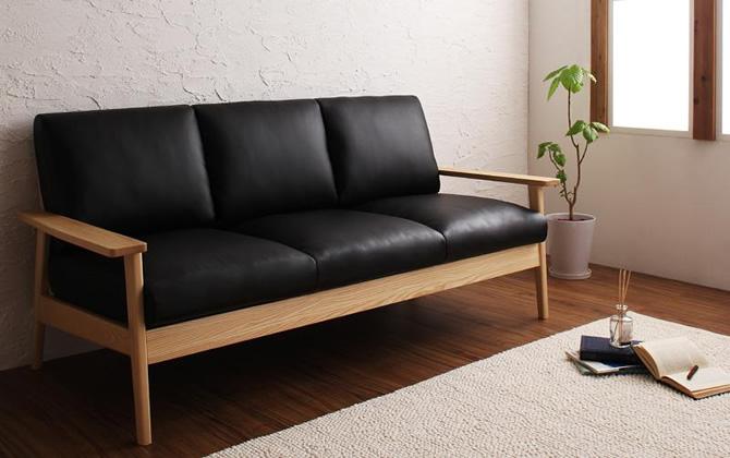 天然木シンプルデザイン木肘ソファー 【MUKU-natural】ムク・ナチュラル 3P