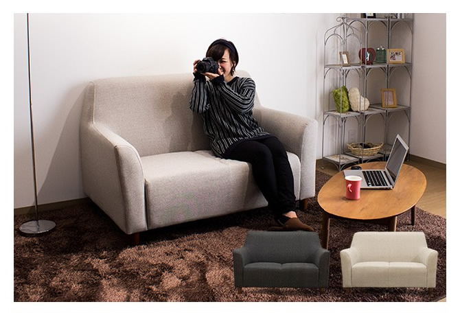 ファブリック2人掛けハイバックソファー 【cocoa】ココア