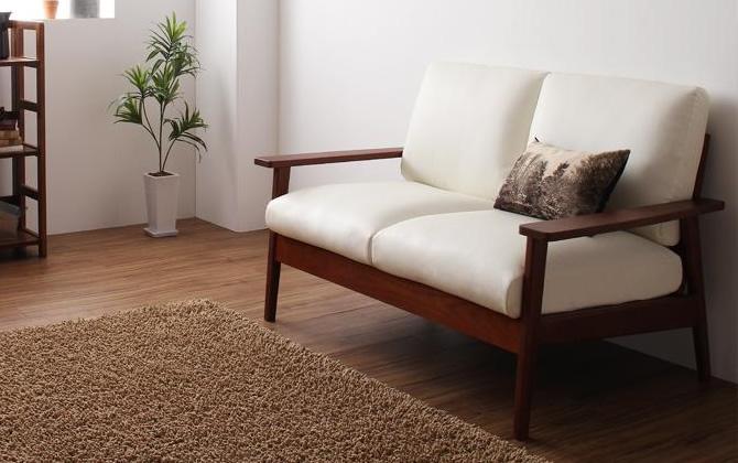 天然木シンプルデザイン木肘ソファー 【MUKU-brown】ムク・ブラウン 2P