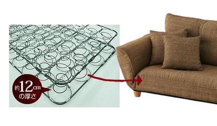 厚みのある座面とコイルスプリングの座り心地
